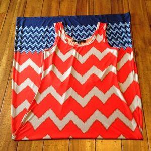 Dresses & Skirts - Nine West Maxi Dress sz SM Red, Gray & Blues
